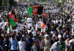 Manifestacion en Kabul antes del ataque suicida