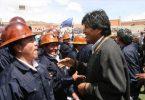 Evo Morales con la cooperativa de mineros